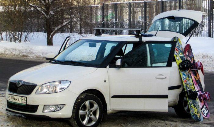 крепление на крышу авто для лыж сноуборда