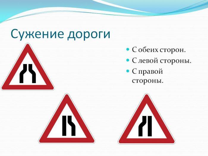 как действовать при сужении дороги