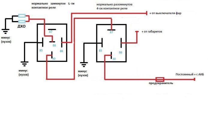 схема 5 контактное реле дхо